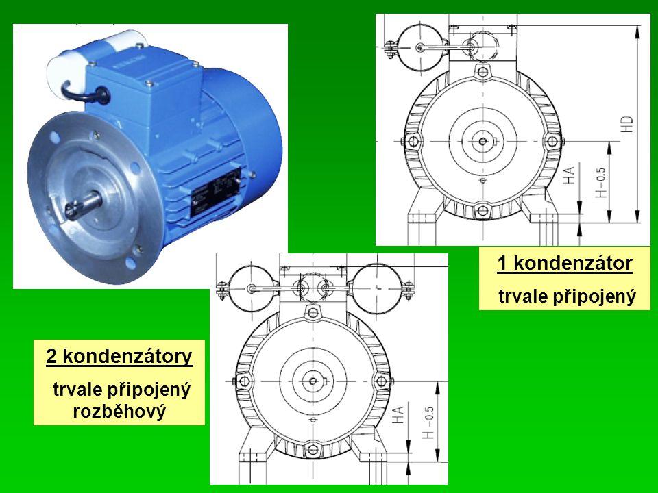 2 kondenzátory trvale připojený rozběhový 1 kondenzátor trvale připojený