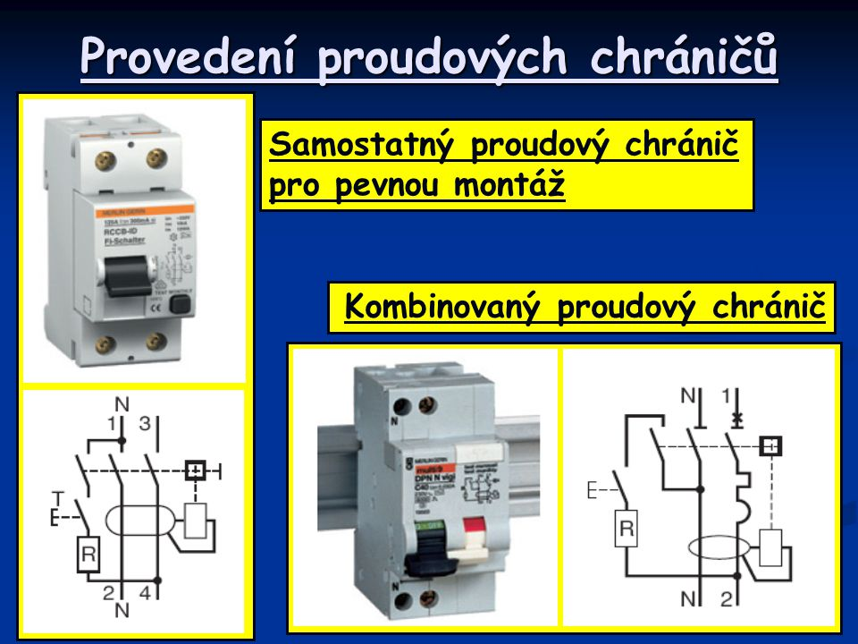 Provedení proudových chráničů Samostatný proudový chránič pro pevnou montáž Kombinovaný proudový chránič