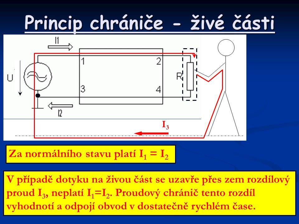 Princip chrániče - živé části Za normálního stavu platí I 1 = I 2 V případě dotyku na živou část se uzavře přes zem rozdílový proud I 3, neplatí I 1 =