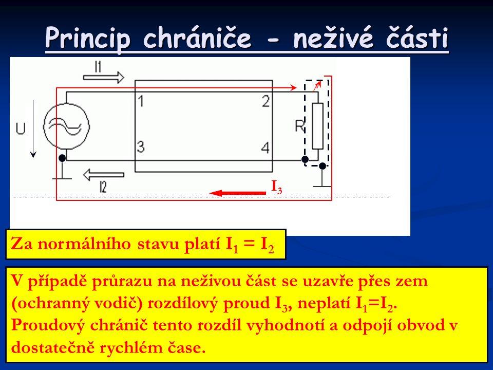 Princip chrániče - neživé části V případě průrazu na neživou část se uzavře přes zem (ochranný vodič) rozdílový proud I 3, neplatí I 1 =I 2. Proudový