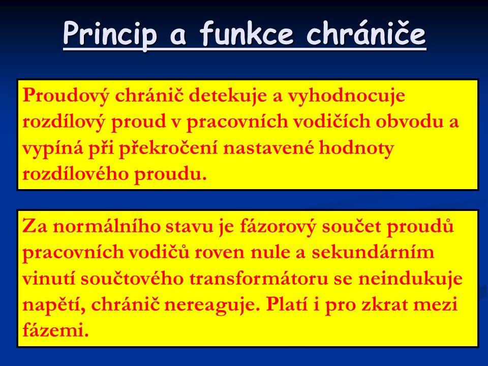 Princip a funkce chrániče Proudový chránič detekuje a vyhodnocuje rozdílový proud v pracovních vodičích obvodu a vypíná při překročení nastavené hodno