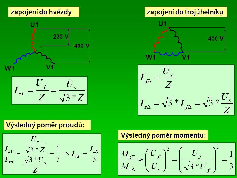 zapojení do hvězdyzapojení do trojúhelníku U1 V1 W1 230 V 400 V U1 V1W1 400 V Výsledný poměr proudů: Výsledný poměr momentů: