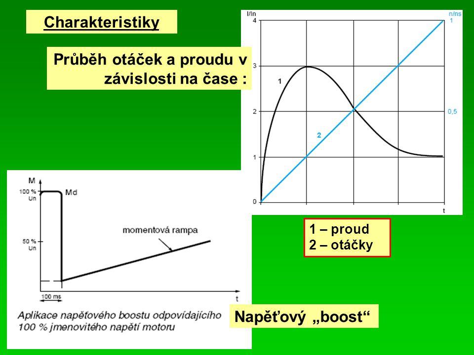 """Charakteristiky 1 – proud 2 – otáčky Průběh otáček a proudu v závislosti na čase : Napěťový """"boost"""