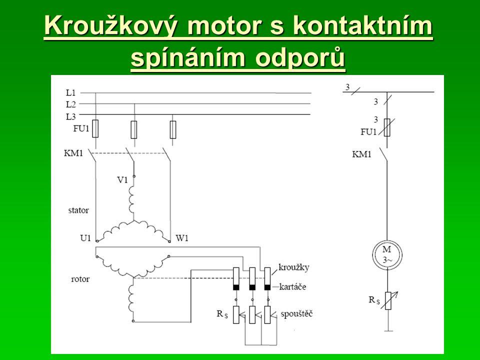 Kroužkový motor s kontaktním spínáním odporů