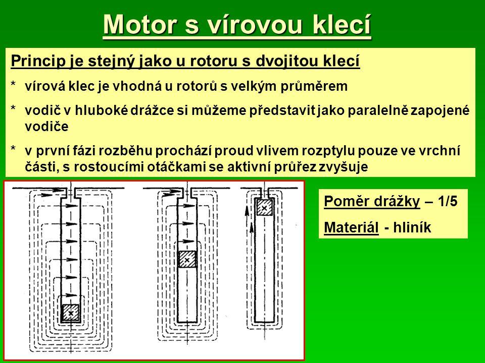 Motor s vírovou klecí Princip je stejný jako u rotoru s dvojitou klecí *vírová klec je vhodná u rotorů s velkým průměrem *vodič v hluboké drážce si můžeme představit jako paralelně zapojené vodiče *v první fázi rozběhu prochází proud vlivem rozptylu pouze ve vrchní části, s rostoucími otáčkami se aktivní průřez zvyšuje Poměr drážky – 1/5 Materiál - hliník