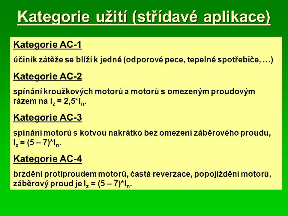 Kategorie užití (střídavé aplikace) Kategorie AC-1 účiník zátěže se blíží k jedné (odporové pece, tepelné spotřebiče, …) Kategorie AC-2 spínání kroužkových motorů a motorů s omezeným proudovým rázem na I z = 2,5*I n.