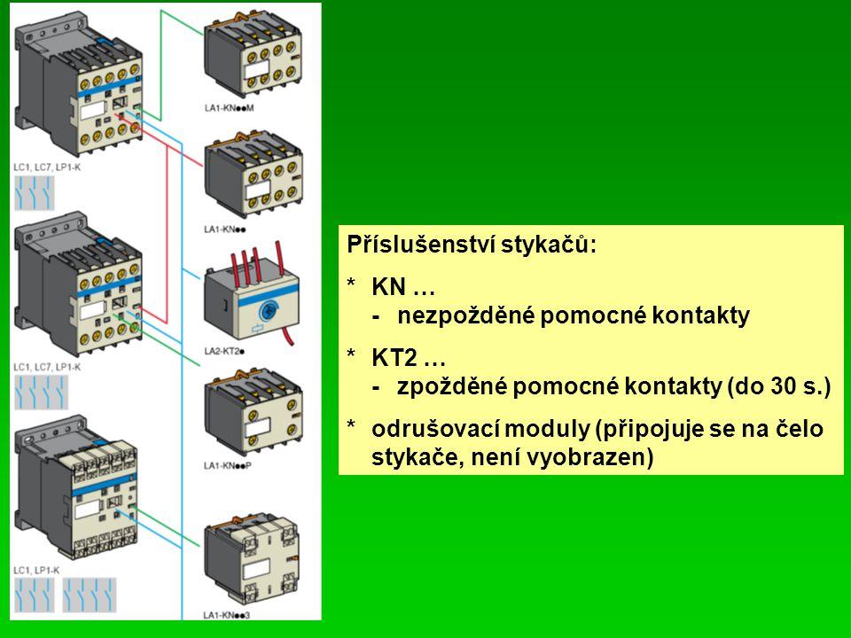 Příslušenství stykačů: *KN … -nezpožděné pomocné kontakty *KT2 … -zpožděné pomocné kontakty (do 30 s.) *odrušovací moduly (připojuje se na čelo stykače, není vyobrazen)