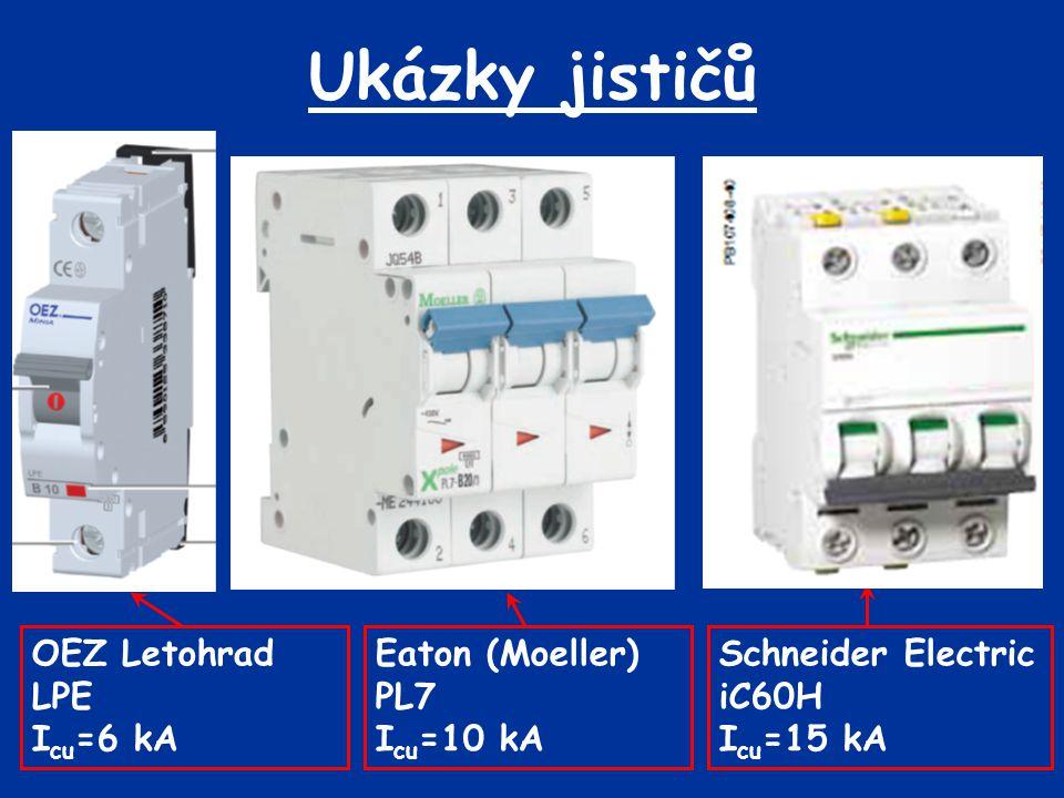 Ukázky jističů Eaton (Moeller) PL7 I cu =10 kA OEZ Letohrad LPE I cu =6 kA Schneider Electric iC60H I cu =15 kA
