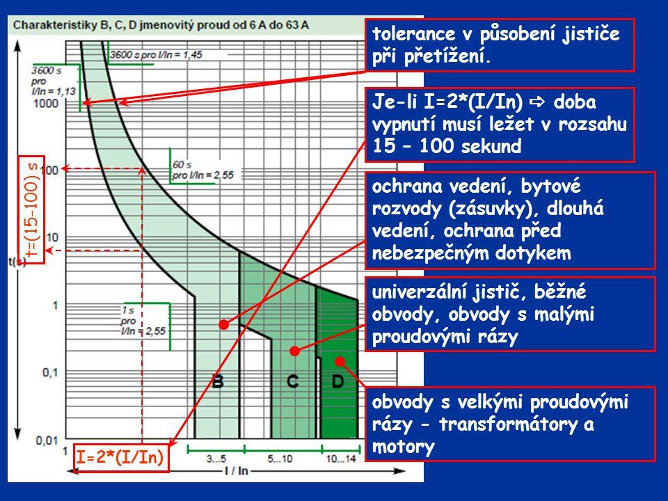 tolerance v působení jističe při přetížení. I=2*(I/In) t=(15-100) s ochrana vedení, bytové rozvody (zásuvky), dlouhá vedení, ochrana před nebezpečným