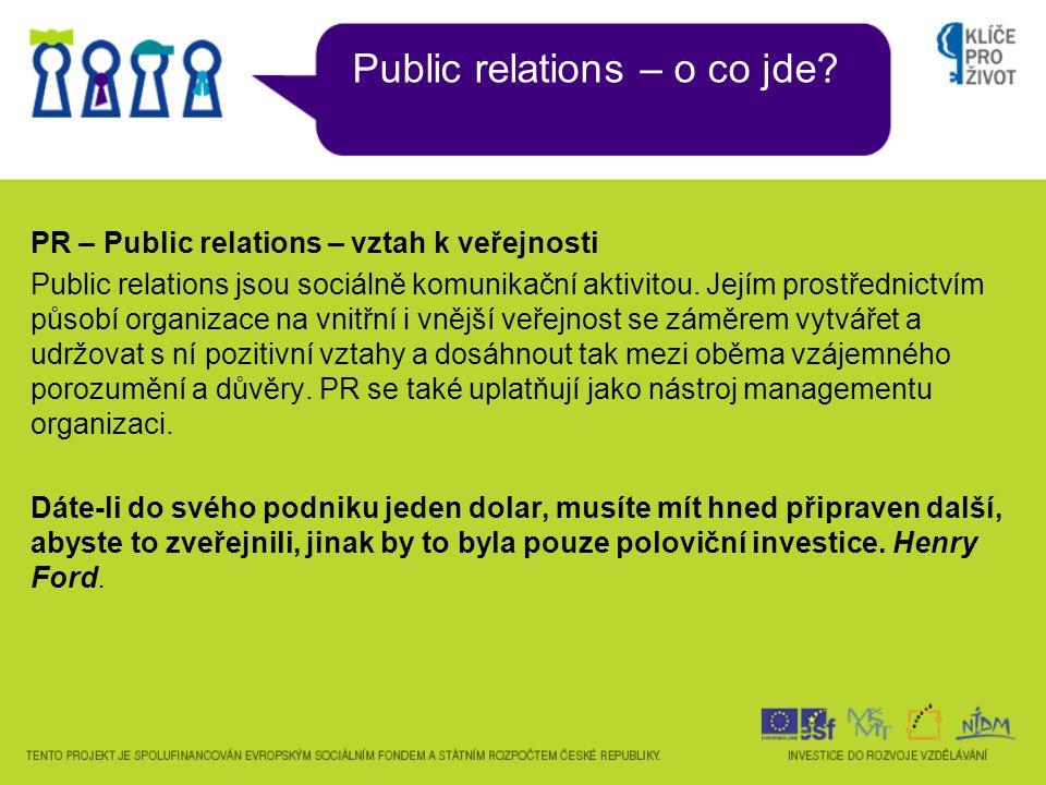 Public relations – o co jde? PR – Public relations – vztah k veřejnosti Public relations jsou sociálně komunikační aktivitou. Jejím prostřednictvím pů