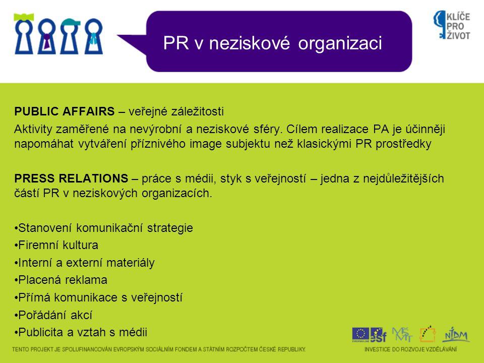 PR v neziskové organizaci PUBLIC AFFAIRS – veřejné záležitosti Aktivity zaměřené na nevýrobní a neziskové sféry. Cílem realizace PA je účinněji napomá