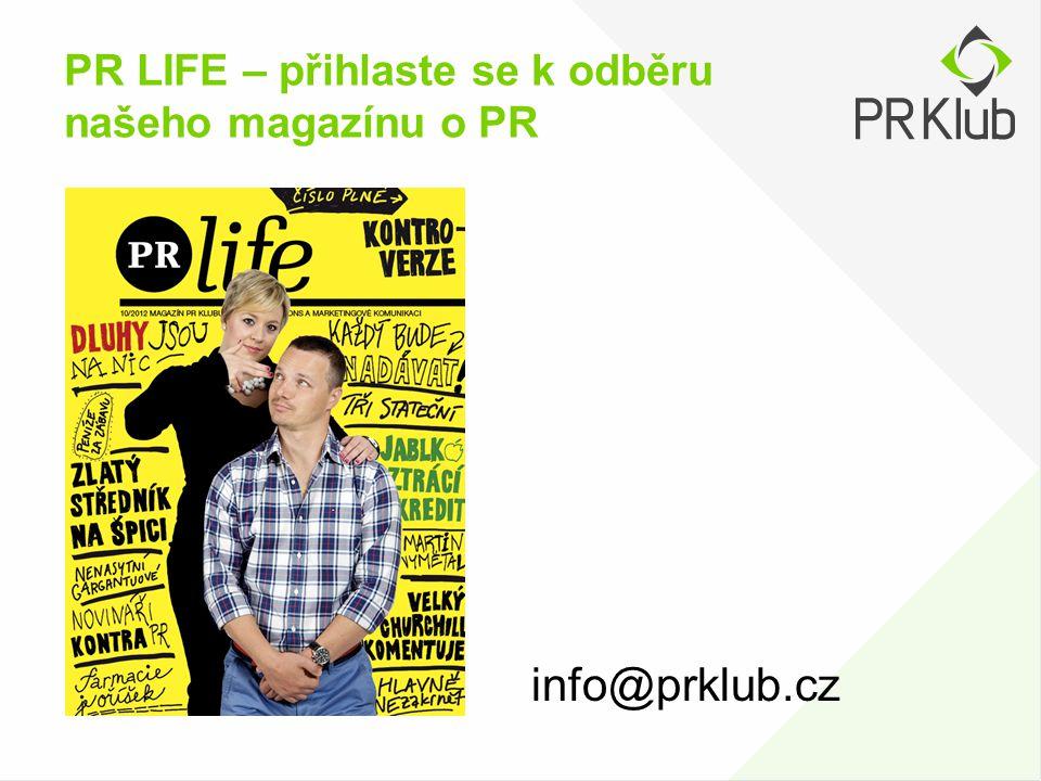 PR LIFE – přihlaste se k odběru našeho magazínu o PR info@prklub.cz