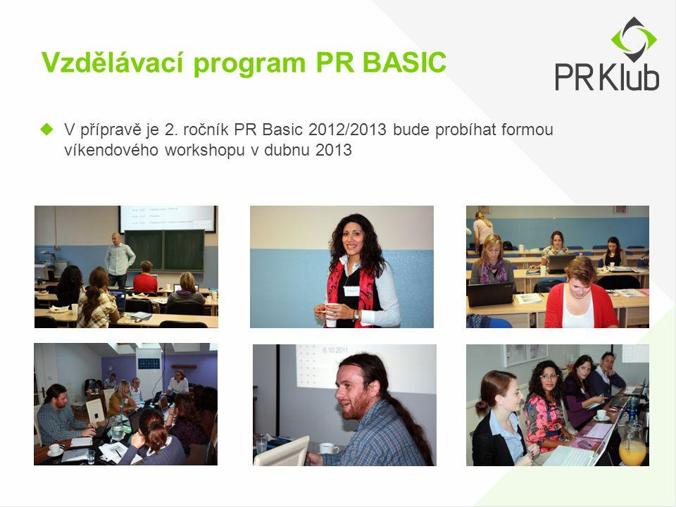 Vzdělávací program PR BASIC  V přípravě je 2. ročník PR Basic 2012/2013 bude probíhat formou víkendového workshopu v dubnu 2013