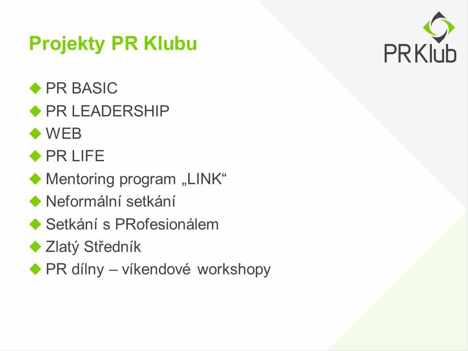 """Projekty PR Klubu  PR BASIC  PR LEADERSHIP  WEB  PR LIFE  Mentoring program """"LINK""""  Neformální setkání  Setkání s PRofesionálem  Zlatý Střední"""