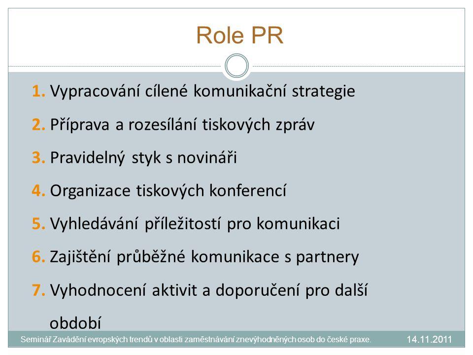 Role PR 1. Vypracování cílené komunikační strategie 2.