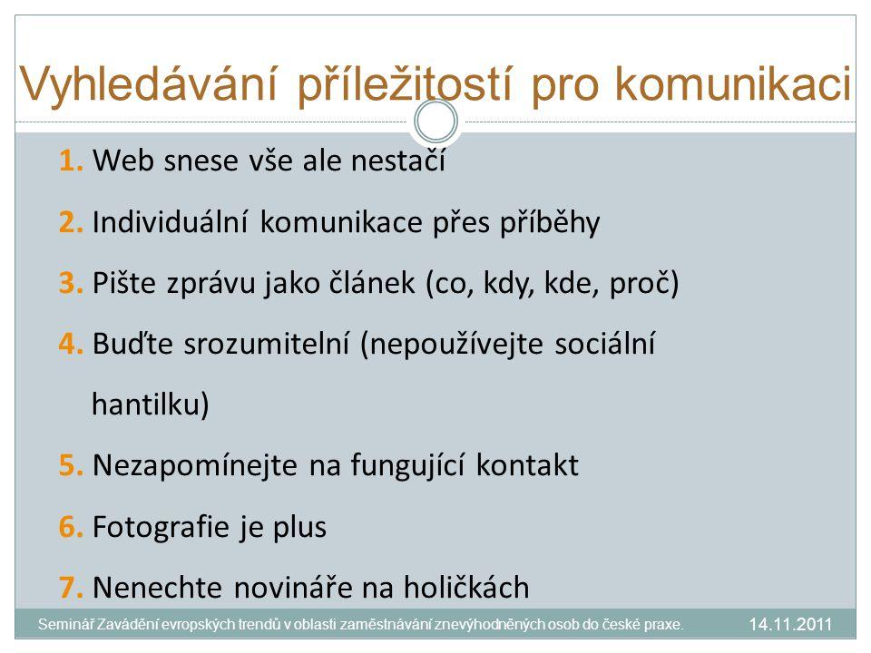Prezentace 1.Využívejte konferencí 2.Prezentujte veřejnosti 3.Využívejte Slide share 4.Naučte se pracovat Prezi a ohromte posluchače 14.11.2011 Seminář Zavádění evropských trendů v oblasti zaměstnávání znevýhodněných osob do české praxe.