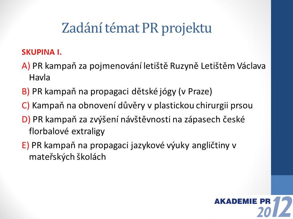 Zadání témat PR projektu SKUPINA II.