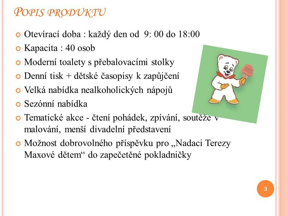 P OPIS PRODUKTU Otevírací doba : každý den od 9: 00 do 18:00 Kapacita : 40 osob Moderní toalety s přebalovacími stolky Denní tisk + dětské časopisy k