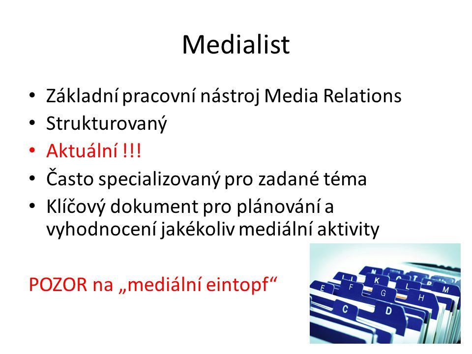 Medialist Základní pracovní nástroj Media Relations Strukturovaný Aktuální !!! Často specializovaný pro zadané téma Klíčový dokument pro plánování a v