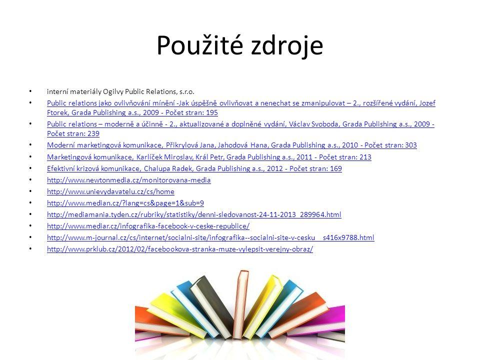 Použité zdroje interní materiály Ogilvy Public Relations, s.r.o.