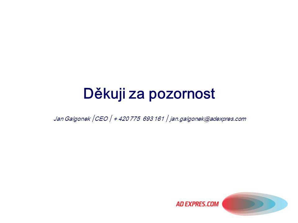 Děkuji za pozornost Jan Galgonek │CEO │ + 420 775 693 161 │ jan.galgonek@adexpres.com