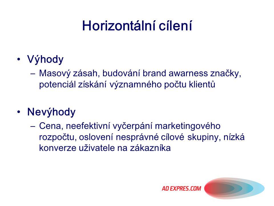 Horizontální cílení Výhody –Masový zásah, budování brand awarness značky, potenciál získání významného počtu klientů Nevýhody –Cena, neefektivní vyčer
