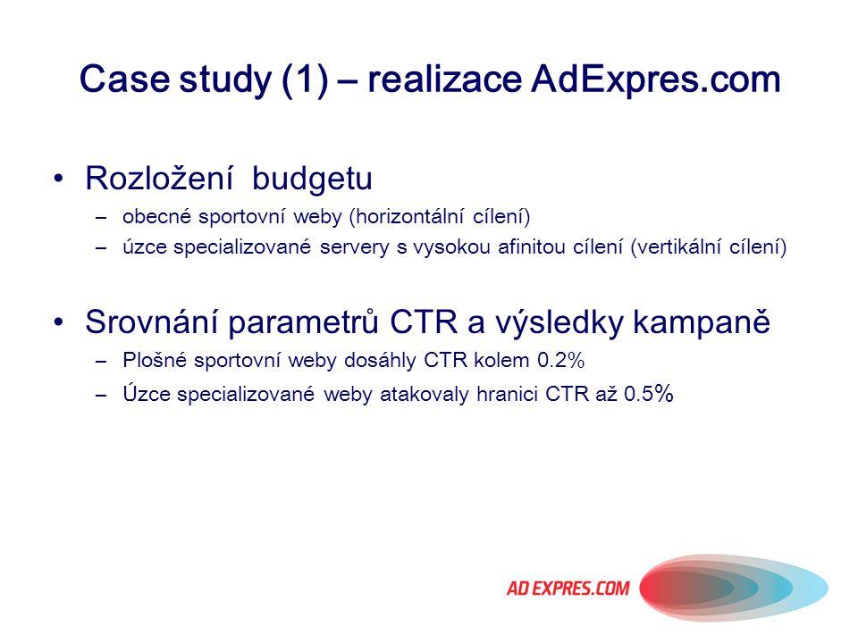 Case study (1) – realizace AdExpres.com Rozložení budgetu –obecné sportovní weby (horizontální cílení) –úzce specializované servery s vysokou afinitou