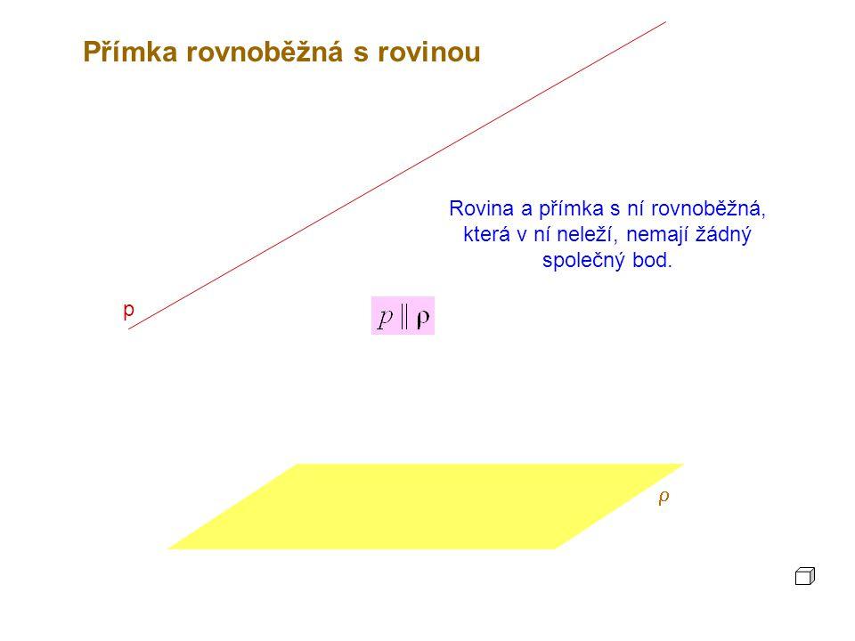 p  Rovina a přímka s ní rovnoběžná, která v ní neleží, nemají žádný společný bod.