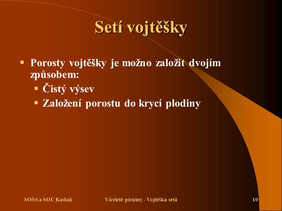 SOŠS a SOU KadaňVíceleté pícniny - Vojtěška setá11 Setí vojtěšky  Čistý výsev – setí je možno provést v jarním nebo letním termínu, porost není omezován konkurencí krycí plodiny.