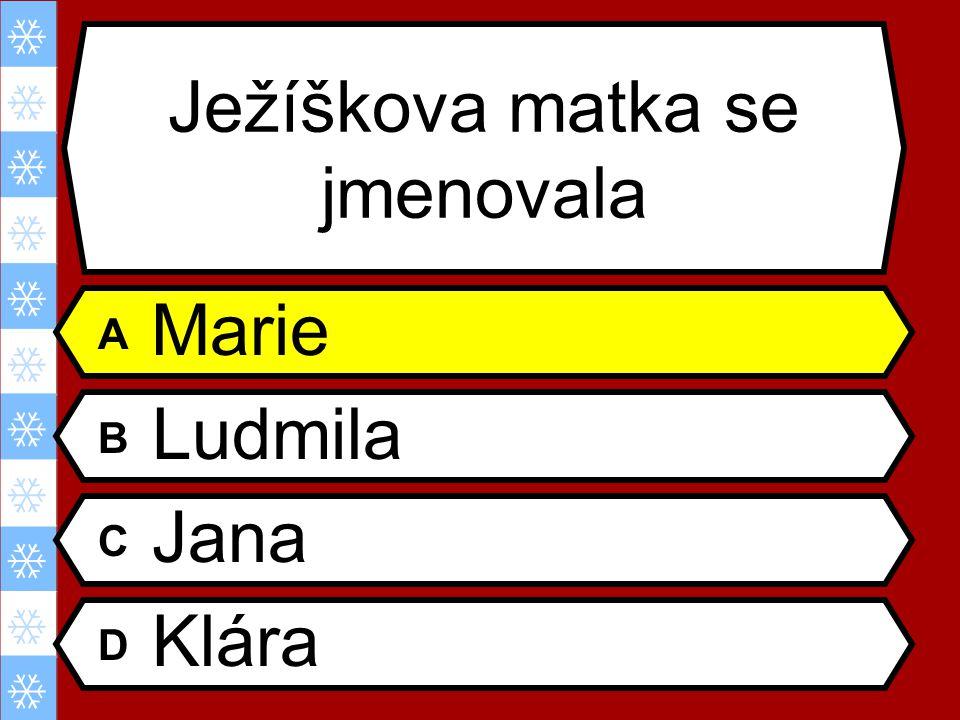 Ježíškova matka se jmenovala A Marie B Ludmila C Jana D Klára