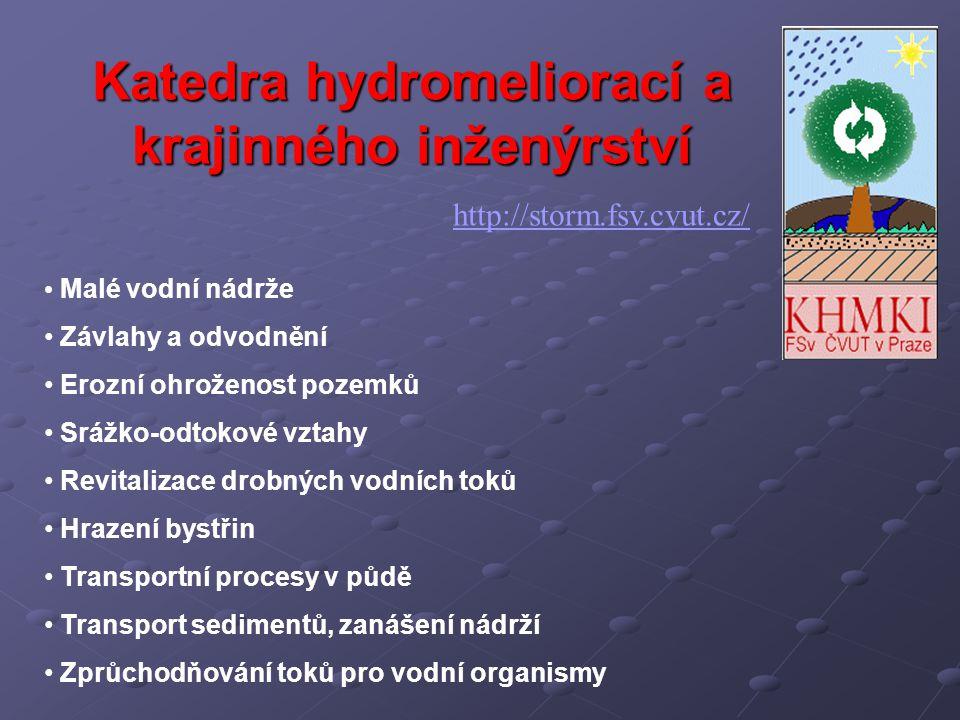 Katedra hydromeliorací a krajinného inženýrství http://storm.fsv.cvut.cz/ Malé vodní nádrže Závlahy a odvodnění Erozní ohroženost pozemků Srážko-odtok