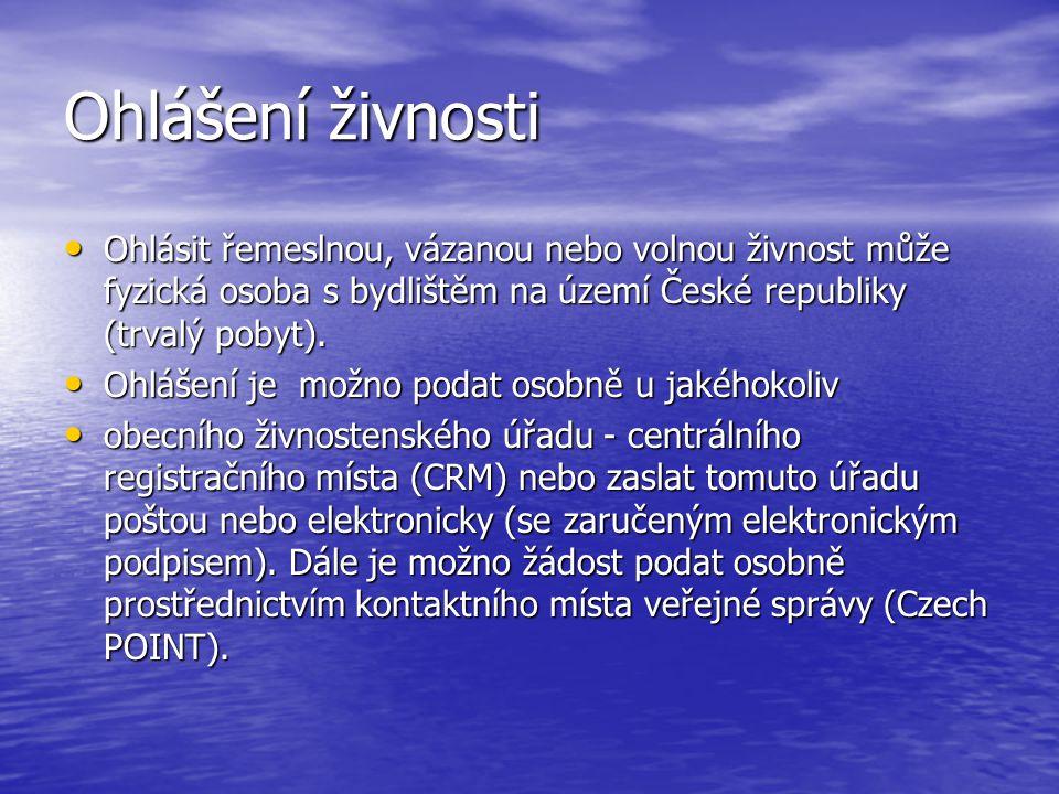 Podání žádosti o koncesi Podat žádost o koncesi je oprávněna fyzická osoba s bydlištěm na území České republiky (trvalý pobyt).