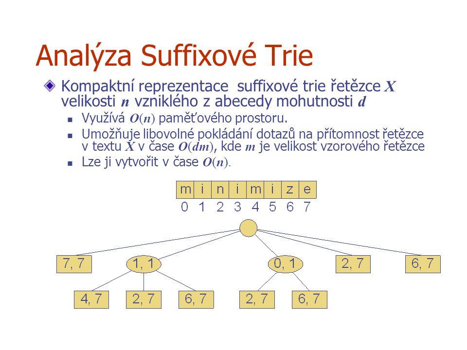 Analýza Suffixové Trie Kompaktní reprezentace suffixové trie řetězce X velikosti n vzniklého z abecedy mohutnosti d Využívá O(n) paměťového prostoru.