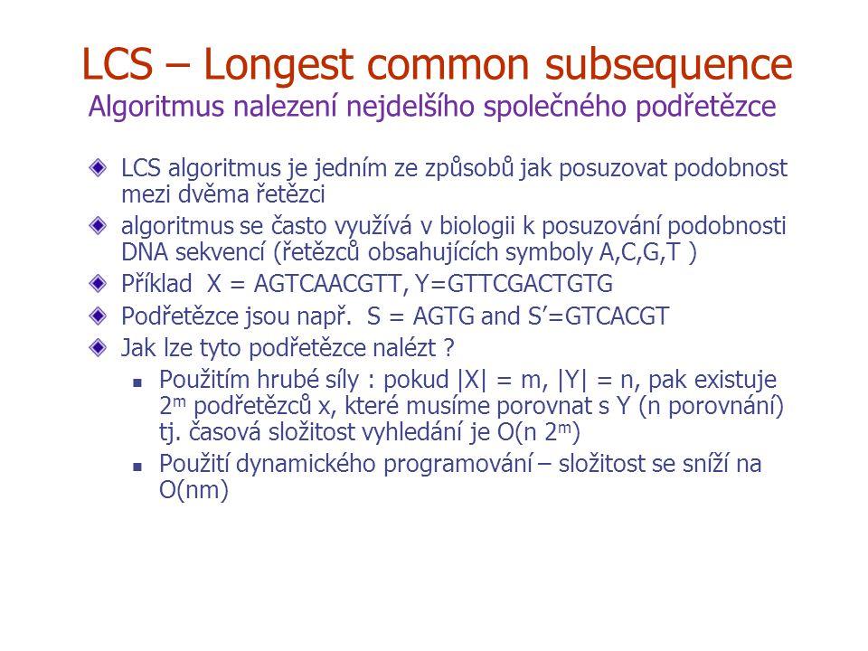 LCS – Longest common subsequence Algoritmus nalezení nejdelšího společného podřetězce LCS algoritmus je jedním ze způsobů jak posuzovat podobnost mezi dvěma řetězci algoritmus se často využívá v biologii k posuzování podobnosti DNA sekvencí (řetězců obsahujících symboly A,C,G,T ) Příklad X = AGTCAACGTT, Y=GTTCGACTGTG Podřetězce jsou např.