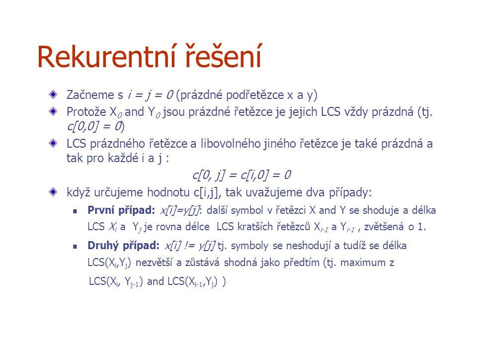 Rekurentní řešení Začneme s i = j = 0 (prázdné podřetězce x a y) Protože X 0 and Y 0 jsou prázdné řetězce je jejich LCS vždy prázdná (tj.