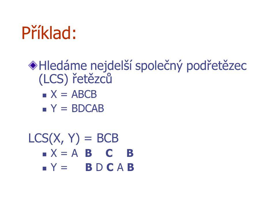 Příklad: Hledáme nejdelší společný podřetězec (LCS) řetězců X = ABCB Y = BDCAB LCS(X, Y) = BCB X = A B C B Y = B D C A B