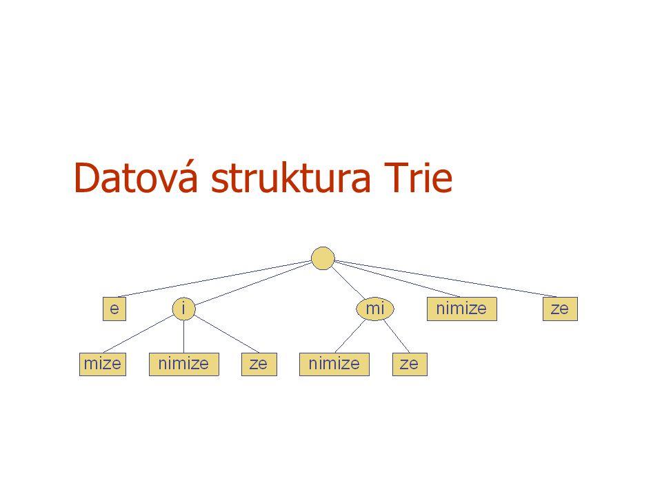 Předzpracování řetězců U algoritmů vyhledávání řetězců se předzpracovává hledaný vzor, aby se urychlilo jeho vyhledávání Pro rozsáhlé neměnné texty ve kterých se často vyhledává je výhodnější předzpracovat celý text, než se zabývat předzpracováním vzoru (BM, KMP algoritmus) Trie je kompaktní datová struktura vhodná pro reprezentaci množiny retězců, kterými mohou být např.