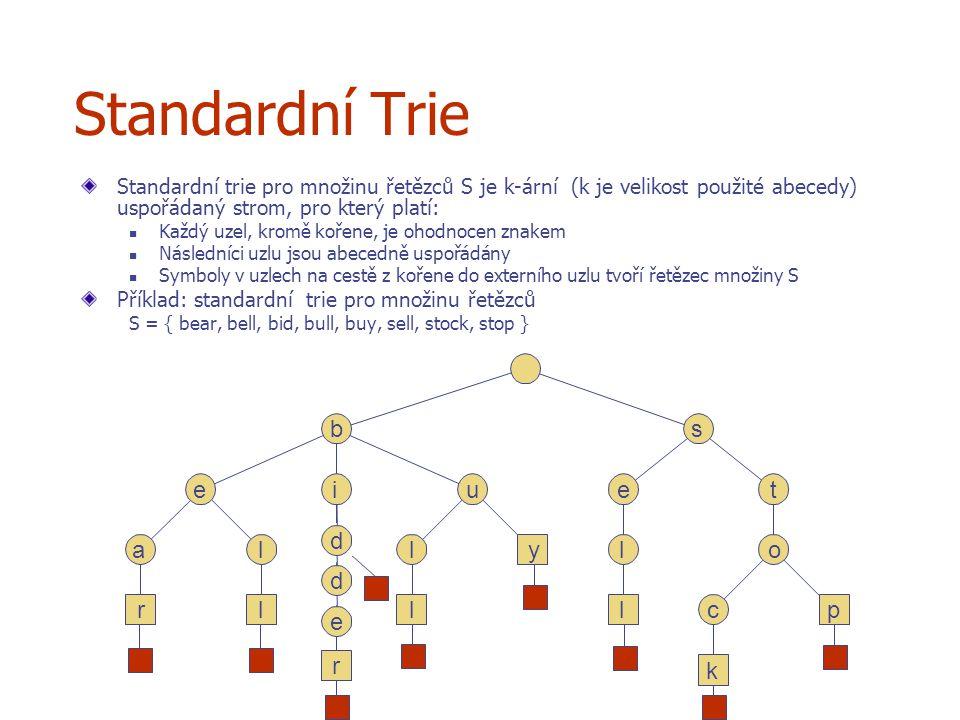 d r e d d p k c o t l l e y l l l Standardní Trie Standardní trie pro množinu řetězců S je k-ární (k je velikost použité abecedy) uspořádaný strom, pro který platí: Každý uzel, kromě kořene, je ohodnocen znakem Následníci uzlu jsou abecedně uspořádány Symboly v uzlech na cestě z kořene do externího uzlu tvoří řetězec množiny S Příklad: standardní trie pro množinu řetězců S = { bear, bell, bid, bull, buy, sell, stock, stop } r l s u a ei b
