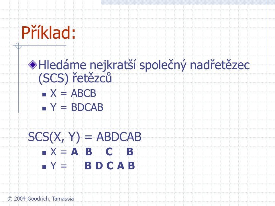 © 2004 Goodrich, Tamassia Příklad: Hledáme nejkratší společný nadřetězec (SCS) řetězců X = ABCB Y = BDCAB SCS(X, Y) = ABDCAB X = A B C B Y = B D C A B
