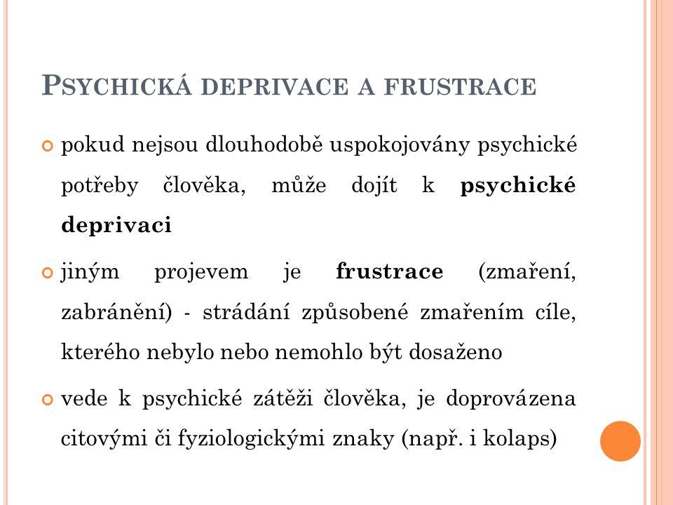 P SYCHICKÁ DEPRIVACE A FRUSTRACE pokud nejsou dlouhodobě uspokojovány psychické potřeby člověka, může dojít k psychické deprivaci jiným projevem je fr