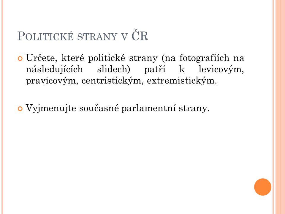 P OLITICKÉ STRANY V ČR Určete, které politické strany (na fotografiích na následujících slidech) patří k levicovým, pravicovým, centristickým, extremistickým.