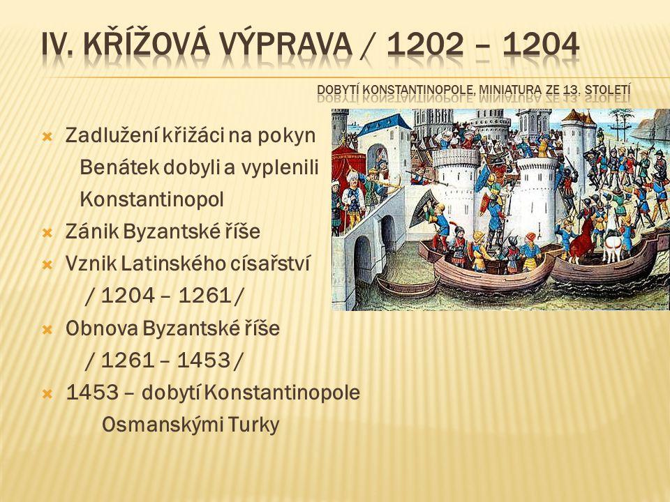  Zadlužení křižáci na pokyn Benátek dobyli a vyplenili Konstantinopol  Zánik Byzantské říše  Vznik Latinského císařství / 1204 – 1261 /  Obnova Byzantské říše / 1261 – 1453 /  1453 – dobytí Konstantinopole Osmanskými Turky