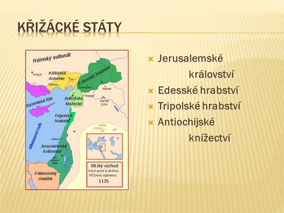  Jerusalemské království  Edesské hrabství  Tripolské hrabství  Antiochijské knížectví