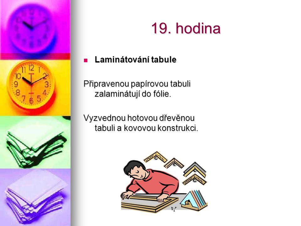 19. hodina Laminátování tabule Laminátování tabule Připravenou papírovou tabuli zalaminátují do fólie. Vyzvednou hotovou dřevěnou tabuli a kovovou kon