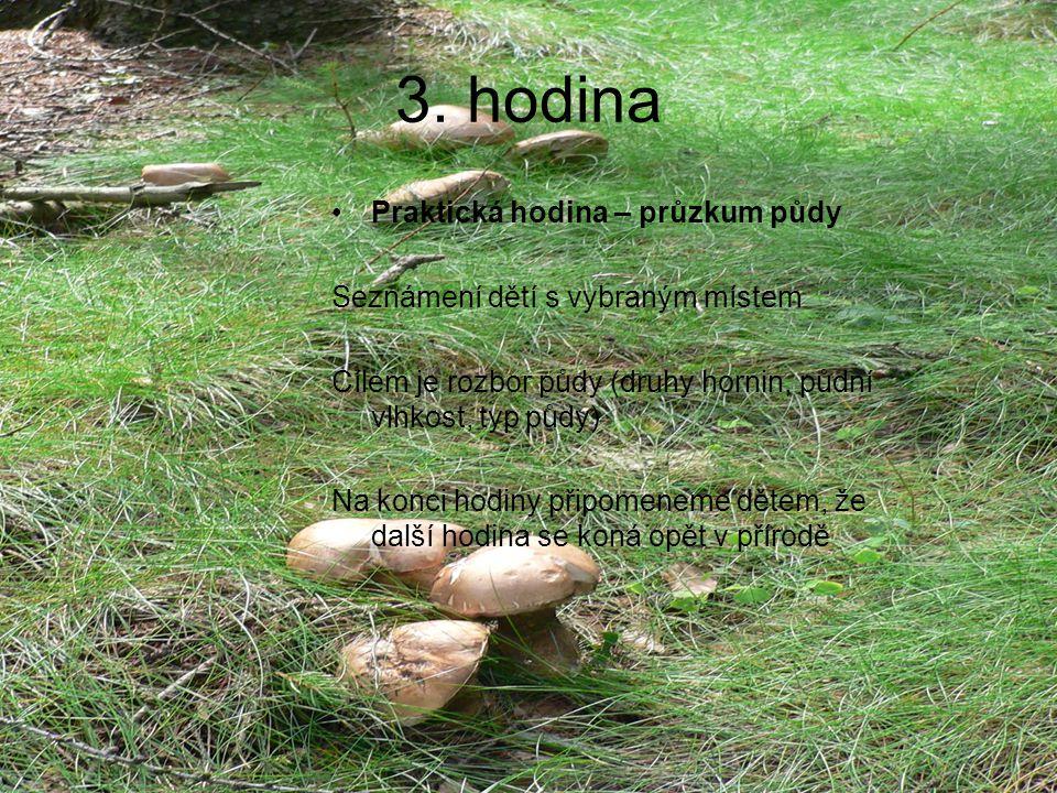 3. hodina Praktická hodina – průzkum půdy Seznámení dětí s vybraným místem Cílem je rozbor půdy (druhy hornin, půdní vlhkost, typ půdy) Na konci hodin