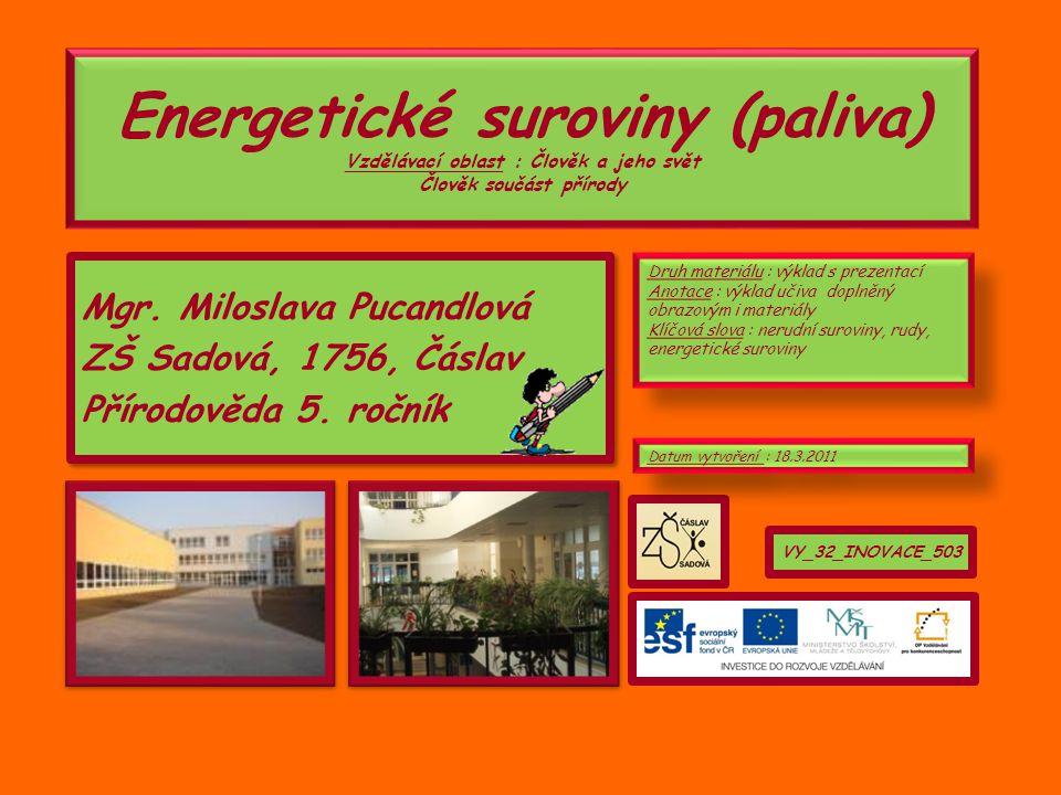 Energetické suroviny (paliva) Vzdělávací oblast : Člověk a jeho svět Člověk součást přírody Mgr.
