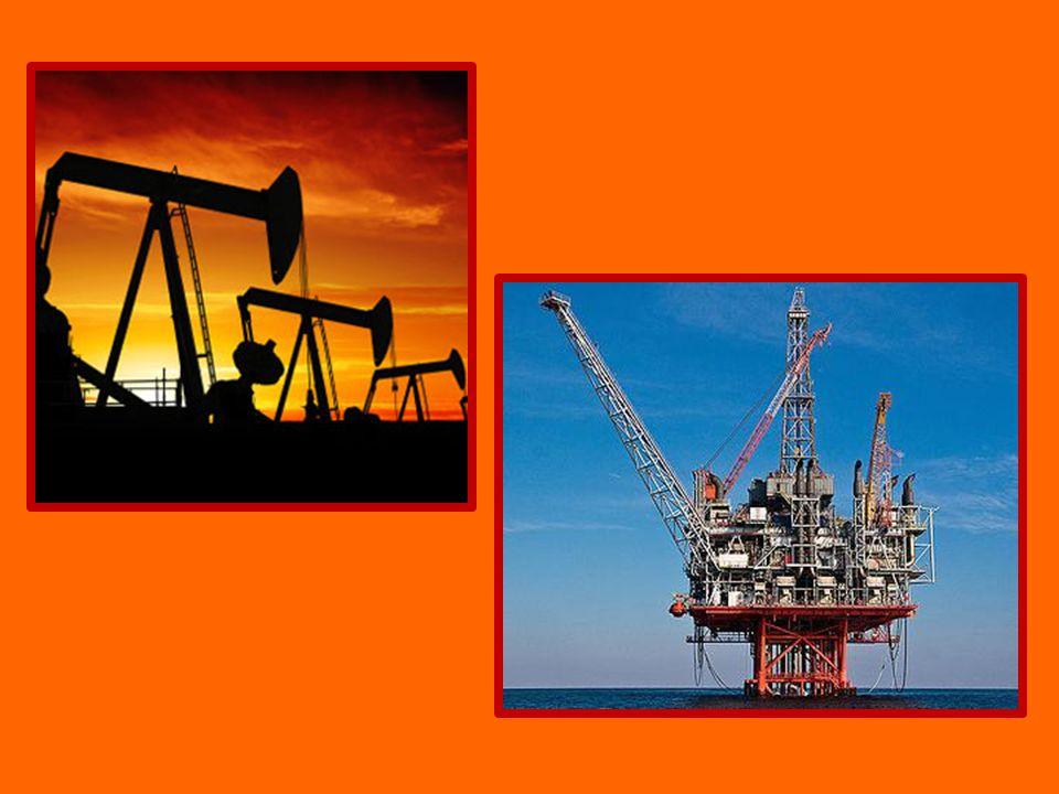 Ropa kapalné palivo různobarevná podzemní těžba ropné vrty na pevnině i podmořské – těžební věže na hladině oceánů výroba nafty a benzínu – palivo do