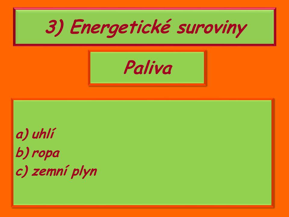 3) Energetické suroviny Paliva a)uhlí b)ropa c)zemní plyn a)uhlí b)ropa c)zemní plyn