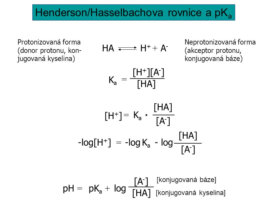 Protonizovaná forma (donor protonu, kon- jugovaná kyselina) Neprotonizovaná forma (akceptor protonu, konjugovaná báze) HAH+H+ A-A- + KaKa [HA] [H+][H+