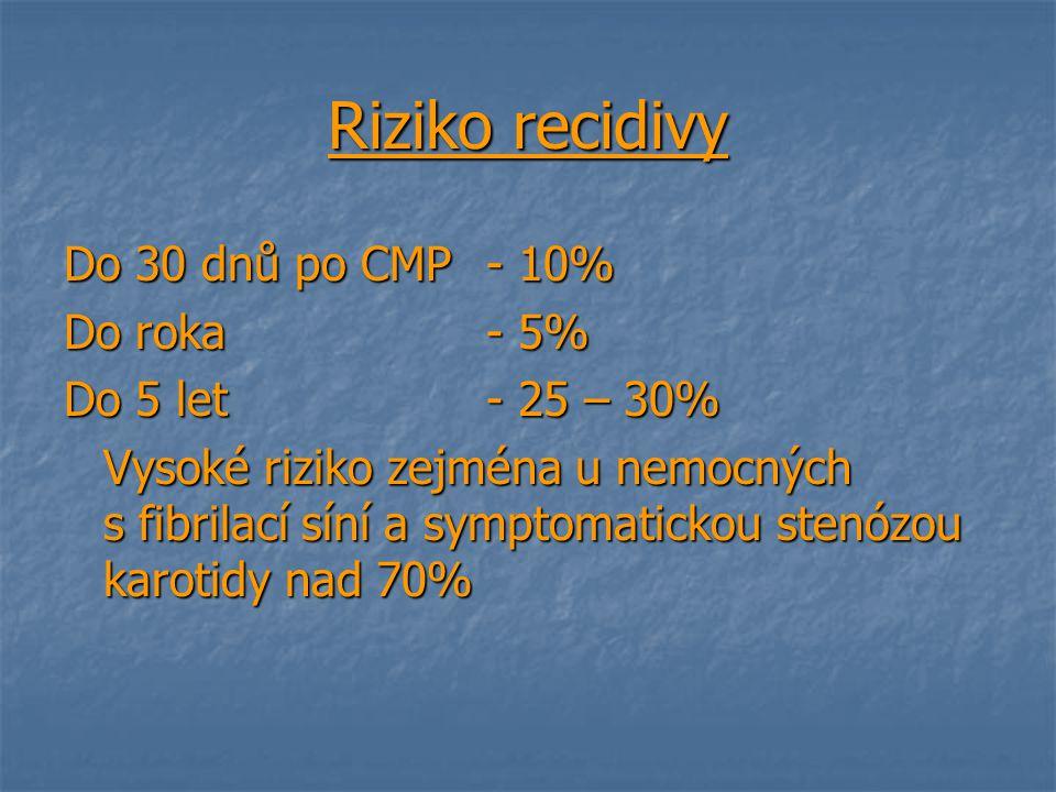 Riziko recidivy Do 30 dnů po CMP- 10% Do roka - 5% Do 5 let - 25 – 30% Vysoké riziko zejména u nemocných s fibrilací síní a symptomatickou stenózou ka